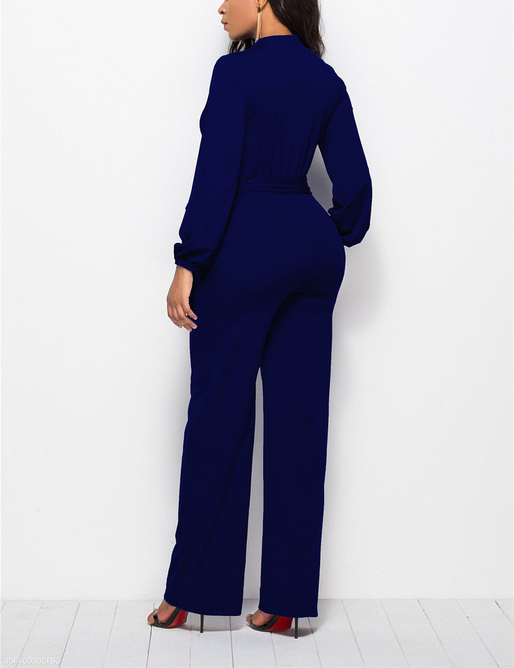 Fashion Solid Color Long-Sleeved Wide-Legged Jumpsuit dark_blue s