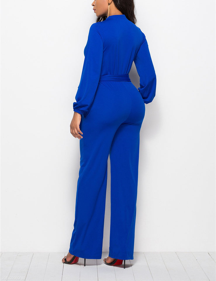 Fashion Solid Color Long-Sleeved Wide-Legged Jumpsuit dark_blue xl