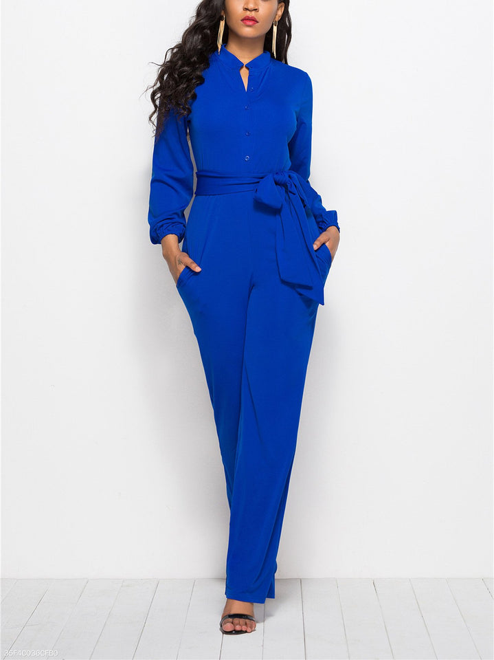 Fashion Solid Color Long-Sleeved Wide-Legged Jumpsuit dark_blue m