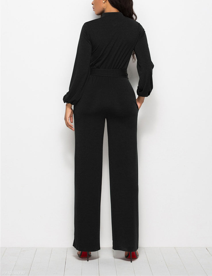 Fashion Solid Color Long-Sleeved Wide-Legged Jumpsuit dark_blue 3xl