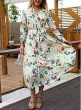 V-Neck Floral Long-Sleeved Dress