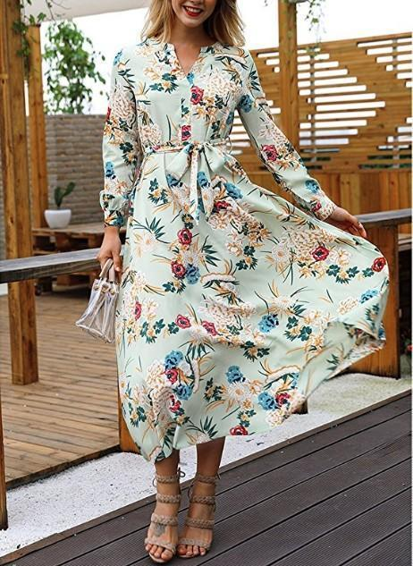 V-Neck Floral Long-Sleeved Dress khaki xl