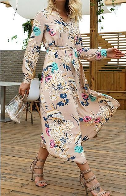 V-Neck Floral Long-Sleeved Dress khaki l