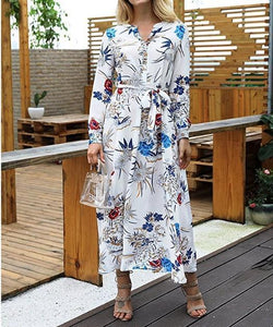 V-Neck Floral Long-Sleeved Dress white l