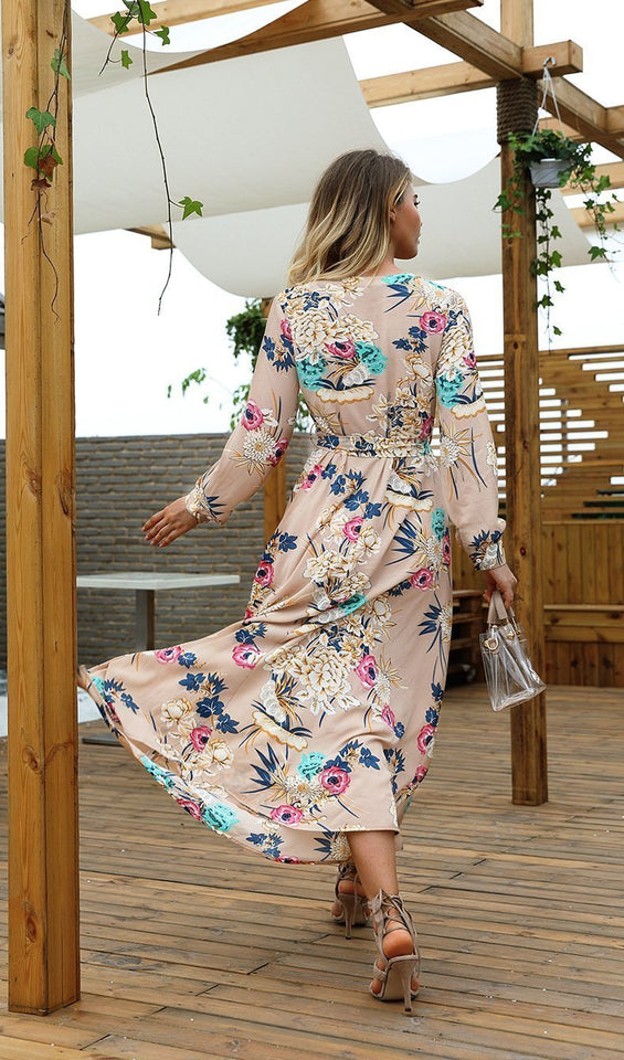 V-Neck Floral Long-Sleeved Dress white s