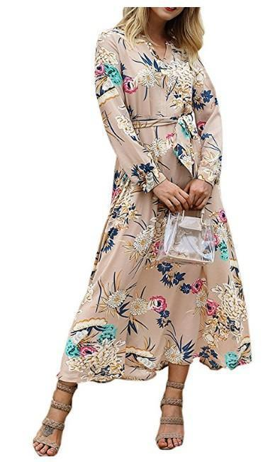 V-Neck Floral Long-Sleeved Dress khaki m