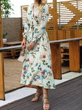 V-Neck Floral Long-Sleeved Dress light_green s
