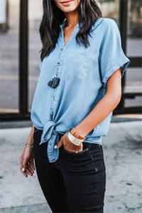 Short Sleeved Solid Color Denim Casual Top light_blue s