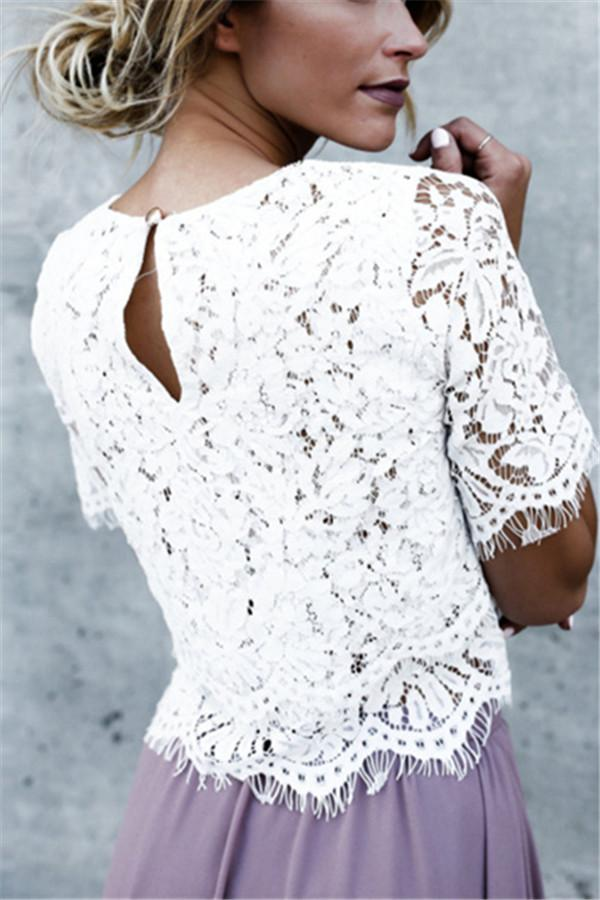 Medium Sleeved Round Collar Buckle Lace Pure Color T-Shirt white s