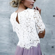 Medium Sleeved Round Collar Buckle Lace Pure Color T-Shirt