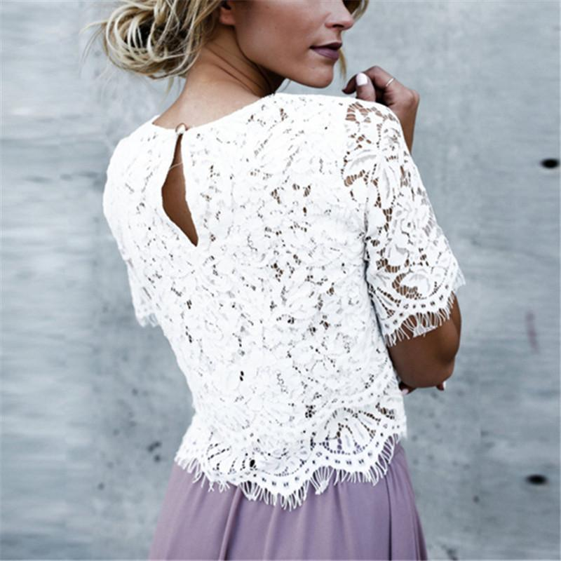 Medium Sleeved Round Collar Buckle Lace Pure Color T-Shirt white m