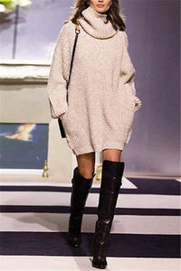 High-Collar Long-Sleeved Knitted Sweater apricot s