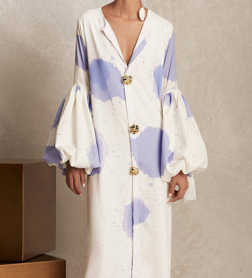 V Collar Long-Sleeved Printing Loose Casual Maxi Dress same_as_photo 3xl