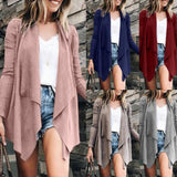 Fold Over Collar  Asymmetric Hem  Plain Cardigans khaki m