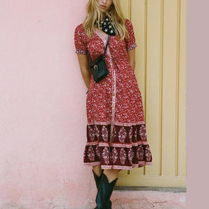 Bohemian V Neck Splicing Floral Dress red m