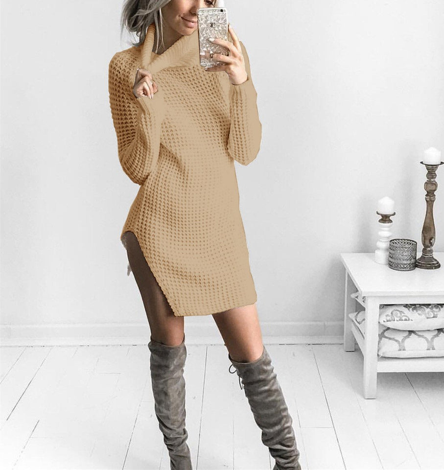 Sexy Open Fork High Collar Long Sleeve Sweater white l