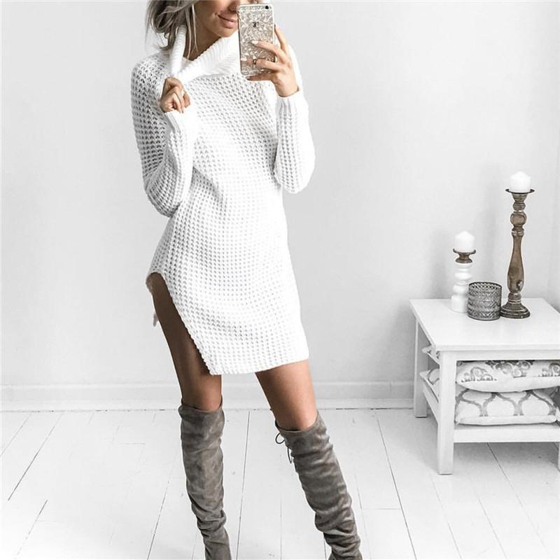 Sexy Open Fork High Collar Long Sleeve Sweater white m