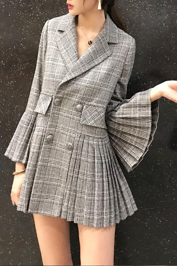 Fashion Elegant Bell Sleeve Check Pleated Suit Jacket Same As Photo s