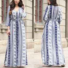 Bohemian V-Neck Printed Split Maxi Dress