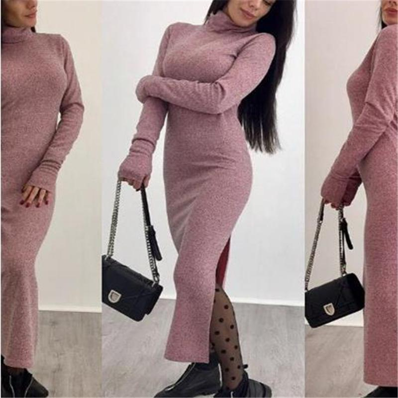 Fashion High Collar Slim Fit Bodycon Dress gray s