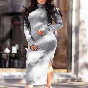 Fashion High Collar Slim Fit Bodycon Dress white l