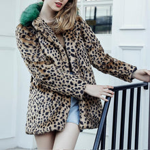 Lapel Color Block Leopard Printed Long Sleeve Fur Coats