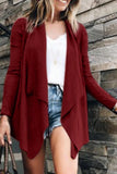 Fold Over Collar  Asymmetric Hem  Plain Cardigans pink xl