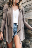 Fold Over Collar  Asymmetric Hem  Plain Cardigans khaki xl