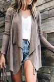 Fold Over Collar  Asymmetric Hem  Plain Cardigans khaki l
