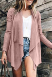 Fold Over Collar  Asymmetric Hem  Plain Cardigans khaki s