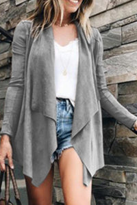 Fold Over Collar  Asymmetric Hem  Plain Cardigans gray l