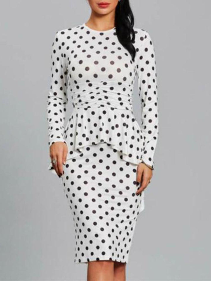 Round Collar Polka Dot Ruffles Long Sleeve Bodycon Dress same_as_photo l