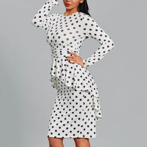 Round Collar Polka Dot Ruffles Long Sleeve Bodycon Dress same_as_photo xl