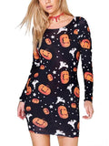 Halloween Pumpkin Printed Long-Sleeve Dresses Detail m