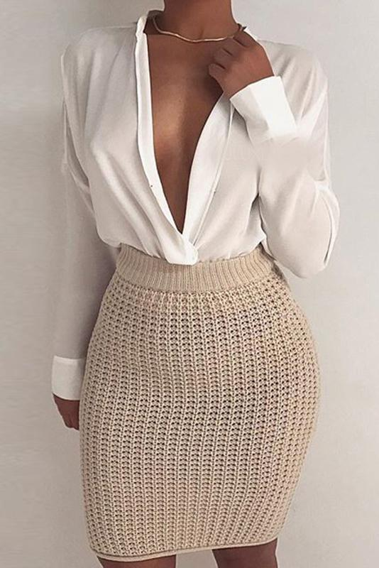 Fashion Casual Slim Plain High Waist Knitting Bodycon Skirt khaki one size