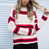 Round Neck Stripes Color Block Long Sleeve Sweaters