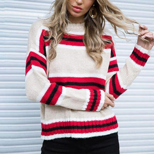 Round Neck Stripes Color Block Long Sleeve Sweaters red l