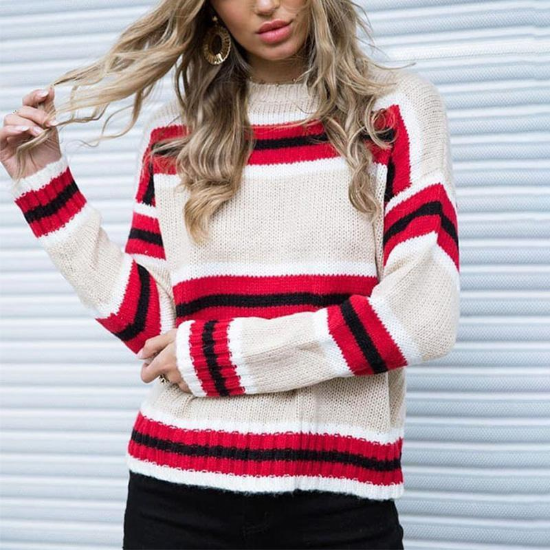 Round Neck Stripes Color Block Long Sleeve Sweaters red m
