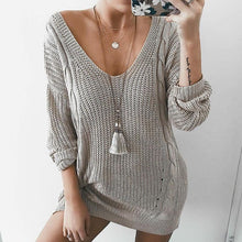 Sexy Deep V Neck Long Sleeve Knitting Sweaters