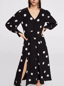 Elegant Polka-Dot V-Neck Maxi Dress black l