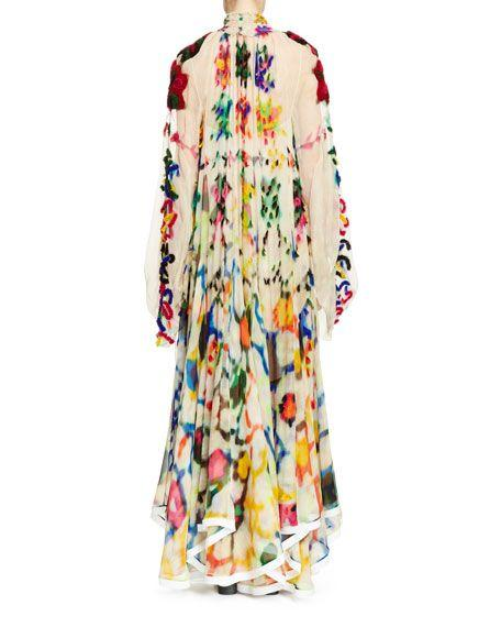 Retro Lapel Long-Sleeve Printed Chiffon Maxi Dress Multi 3xl