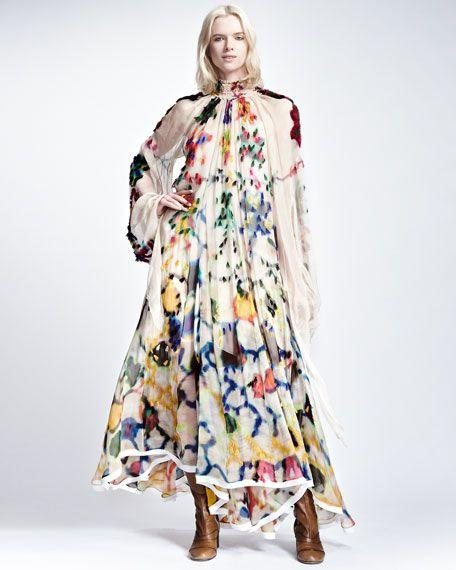 Retro Lapel Long-Sleeve Printed Chiffon Maxi Dress Multi 2xl