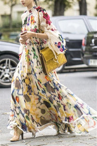 Retro Lapel Long-Sleeve Printed Chiffon Maxi Dress Multi s