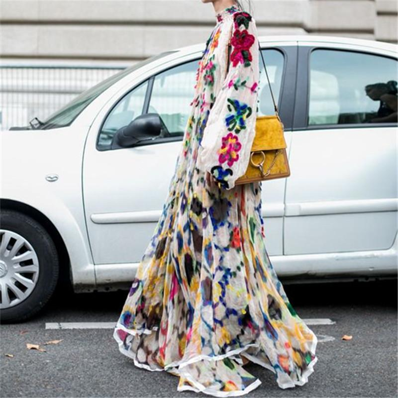 Retro Lapel Long-Sleeve Printed Chiffon Maxi Dress Multi l
