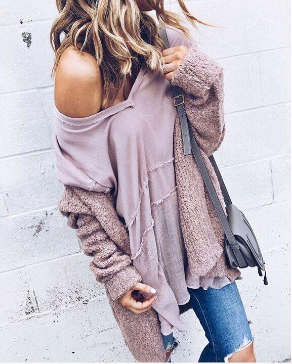 Fashion Casual Open Shirt Long-Sleeved Sweater same_as_photo xl