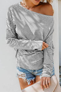One Shoulder  Striped  Batwing Sleeve T-Shirts stripe s