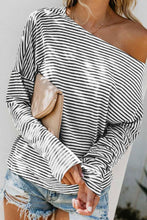 One Shoulder Striped Batwing Sleeve T-Shirts