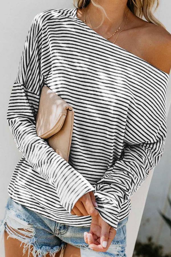 One Shoulder  Striped  Batwing Sleeve T-Shirts stripe xl