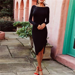 Fashion Slim Backless Bodycon Dress claret m