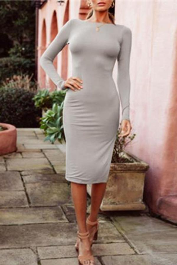 Fashion Slim Backless Bodycon Dress gray s